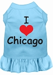 I Heart Chicago Screen Print Dog Dress Baby Blue 4X (22)